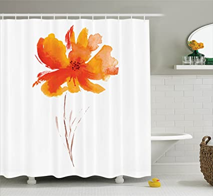 Ambesonne Watercolor Flower Decor Shower Curtain Set Single Poppy On Plain Clear Background Nature