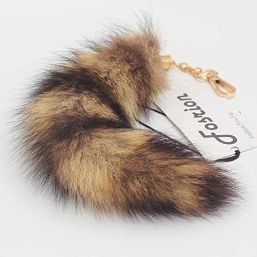 25cm 10inches Authentic America Raccoon Tail Fur Skin Cosplay Toy Handbag Accessories Key Chain Ring Hook by HonestShop Fox Tail