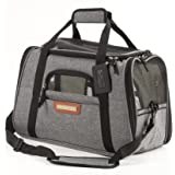 Pawfect Pets Airline Approved Pet Carrier Soft-Sided Cat Carrier and Dog Carrier for Cats and Extra Small Dogs, Fits Underneath Airplane Seat. Comes with Two Fleece Pet Mats. (Slate Grey)
