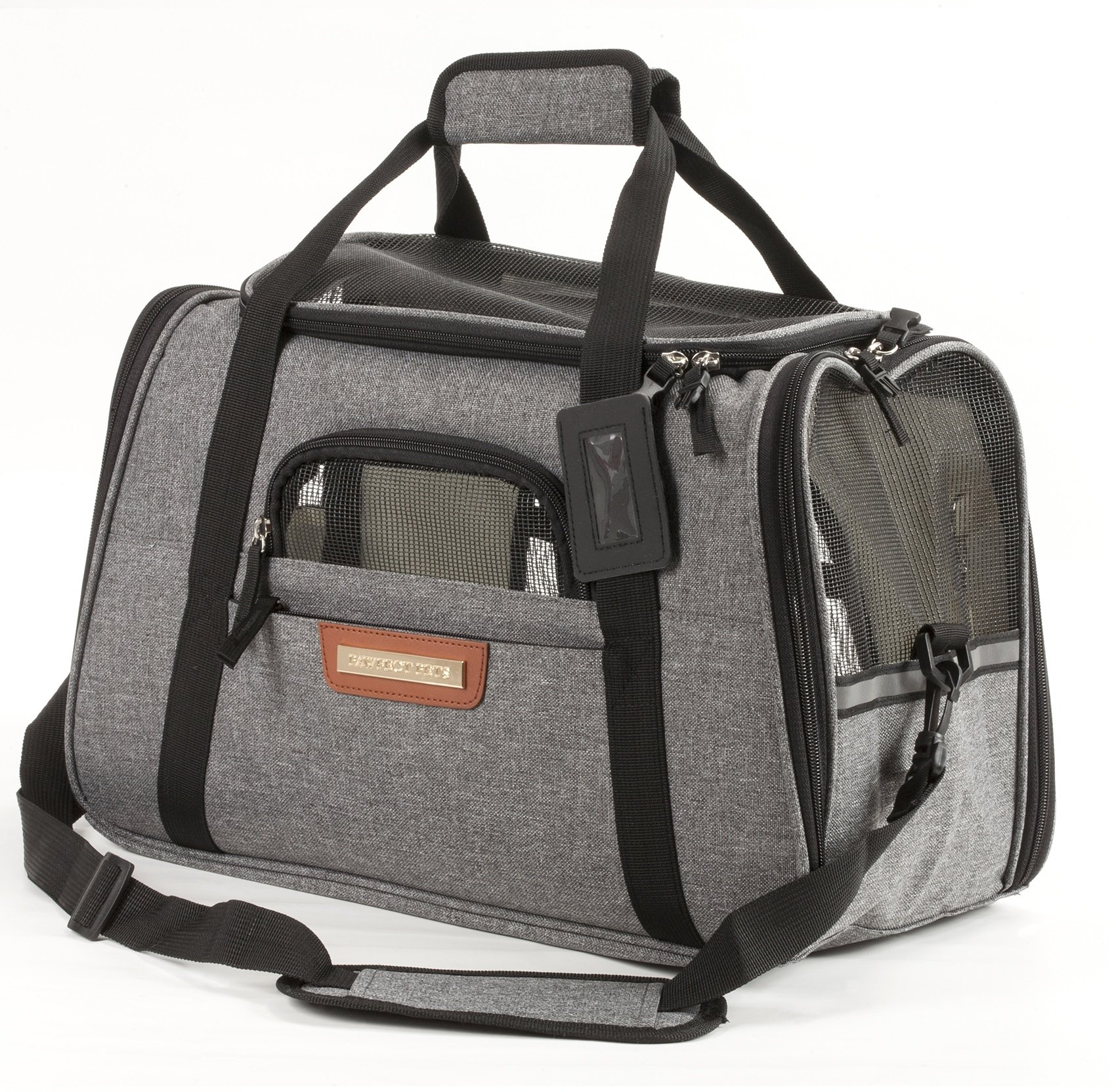 Pawfect Pets Pet Travel Carrier, Soft-Sided with Two Pet Mats for Small Dogs and Cats (Grey) by Pawfect Pets (Image #1)