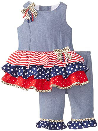 74c9acec3 Bonnie Baby Baby-Girls Newborn Chambray To Mixed Print Leggings BL0BA, Blue