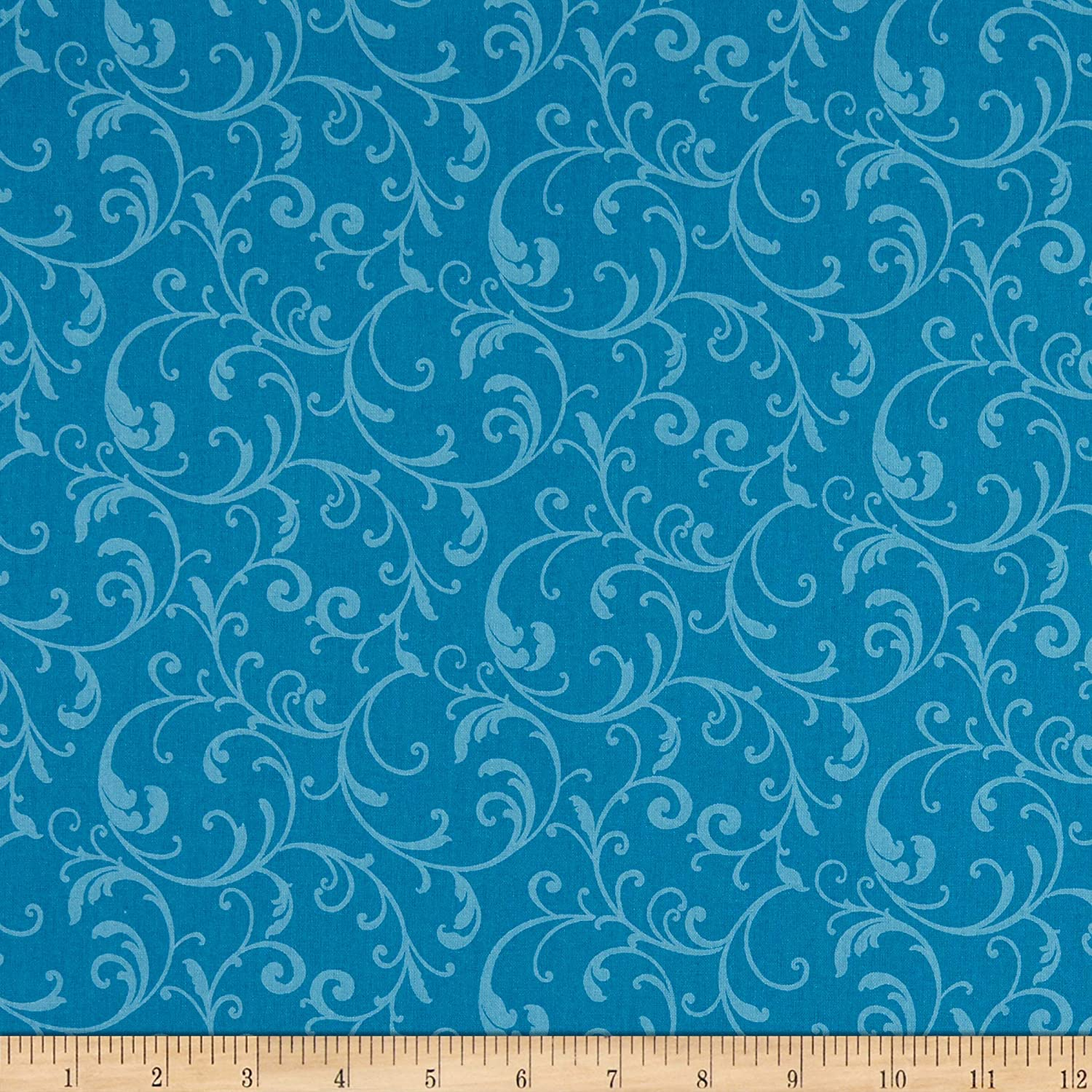 Benartex Classic Scrolls And Blenders Classic Scroll Turquoise Quilt Fabric By The Yard