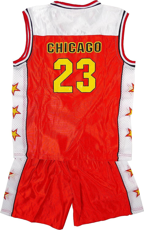 Boys Sport CHICAGO de pelota de baloncesto de costura para chalecos de en la parte superior y pantalones cortos conjunto de cinta y tamaños disfraz de 3 permiten el paso de la