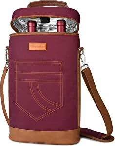Tirrinia 2 Bottle Wine Tote Carrier - Insulated & Padded Versatile Cooler Bag for Travel, BYOB Restaurant, Wine Tasting, Party, Great Gift for Wine Lover, Red