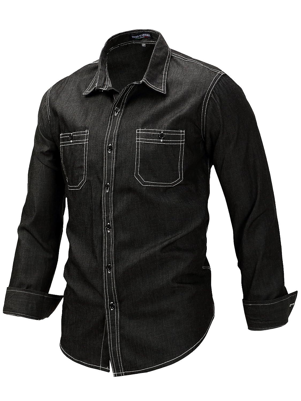 Neleus SHIRT メンズ B07586P12W S|9114# Black / Denim Shirt 9114# Black / Denim Shirt S
