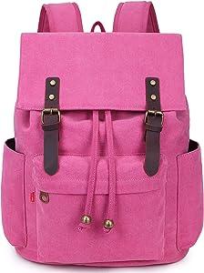 La Packmore Canvas Backpack Vintage Rucksack Daypack Bookbag Drawstring Bag Knapsack for School College Fits Up To 17 Inch Laptop (Pink)