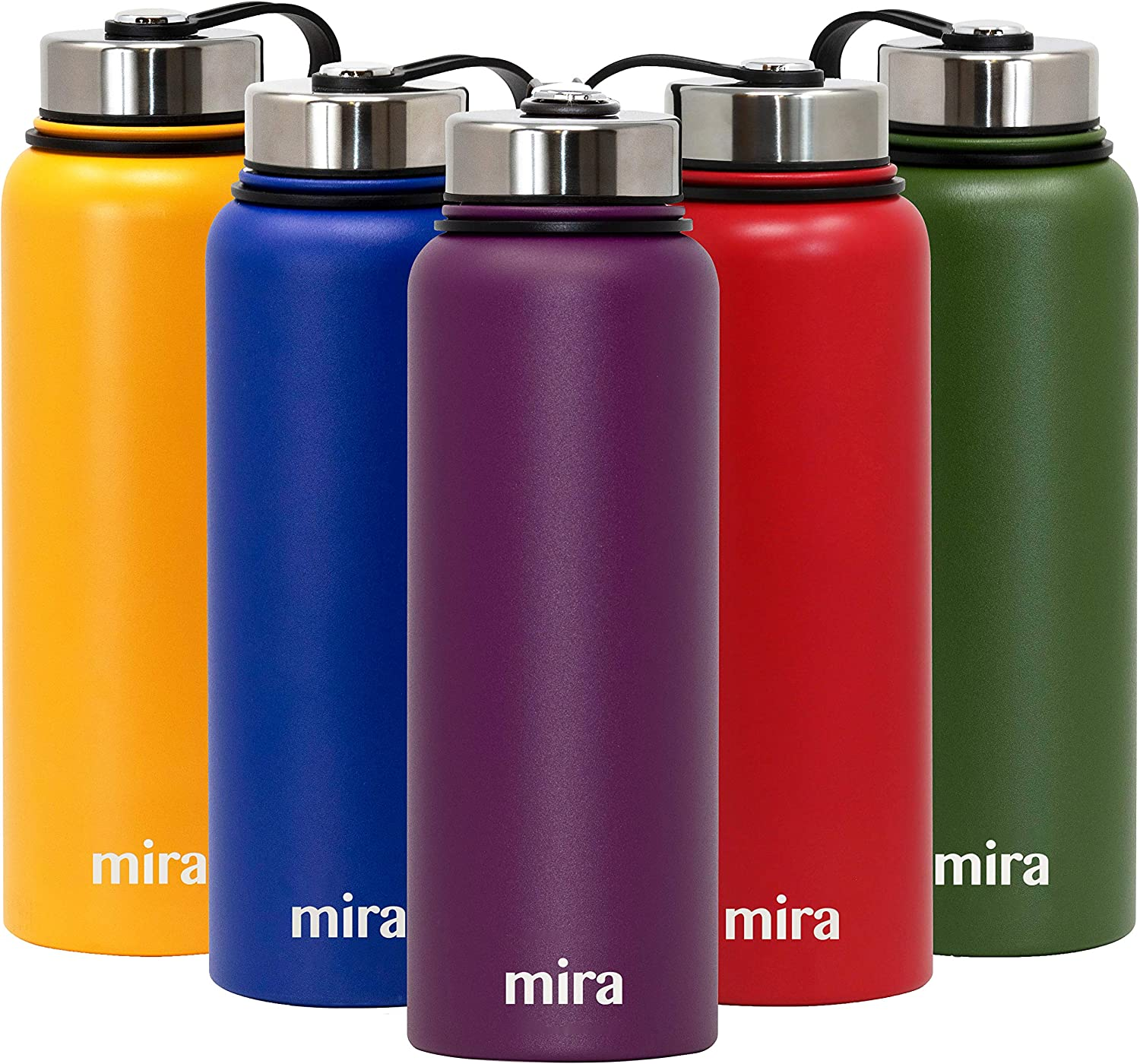 MIRA Insulated Stainless Steel Large Water Bottle | Vacuum Insulated Wide Mouth Thermos Flask | Keeps Water Stay Cold for 24 Hours, Hot for 12 Hours | Metal Bottle BPA-Free Cap | Iris | 40 oz