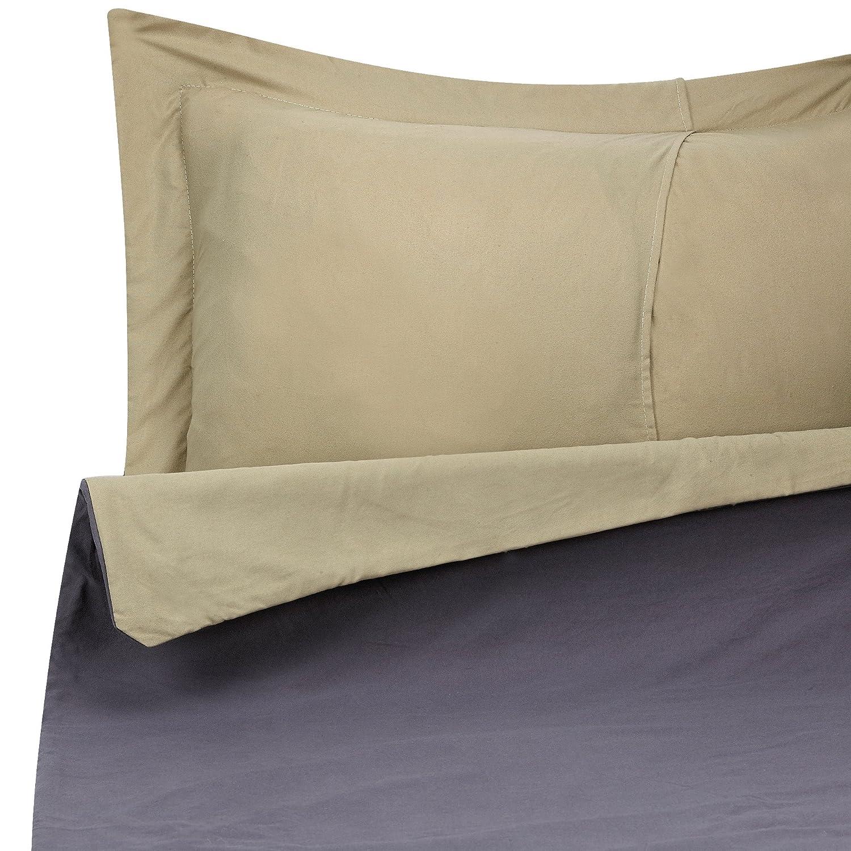 Duvet Cover Set for Comforter, Full, Reversible Gray and Sage Green