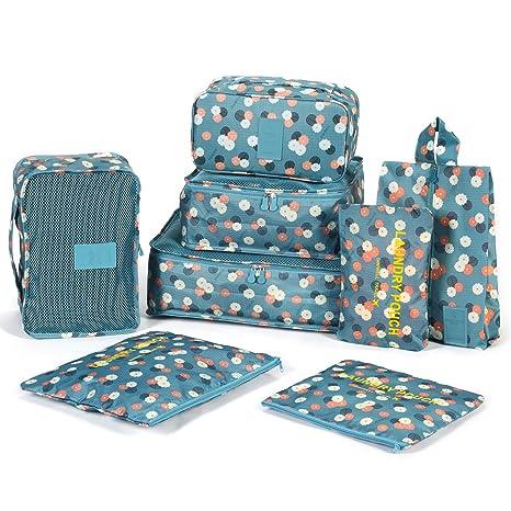 DOKEHOM DKA3002BF2 8 cubos del embalaje organizadores de viajes, Organizadores para maletas, disponible en 2 colores (Azul Flor): Amazon.es: Equipaje