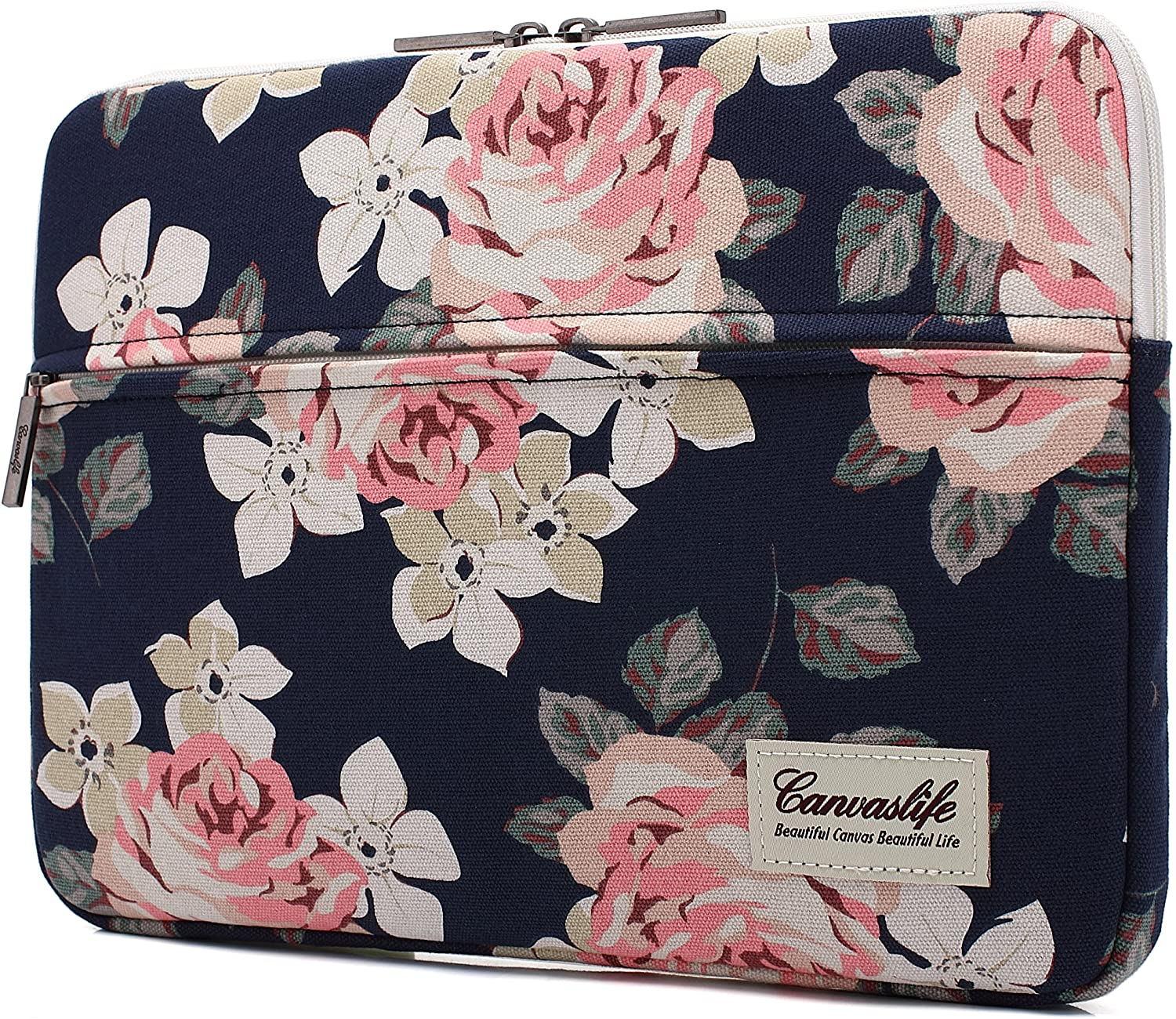 Canvaslife White Rose Laptop Sleeve 15 Inch 15 Case and 15.6 Laptop Bag