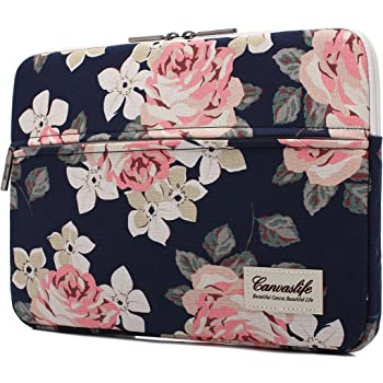 Amazon Com Canvaslife White Rose Patten Laptop Sleeve 14