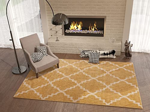 "Golden Yellow 5x8 5'3"" x 7'3"" Area Rug Trellis Morrocan Modern Geometric Wavy Lines Living Dining Room Bedroom Kitchen Carpet Contemporary Soft Plush Quality Gold Area Rug"