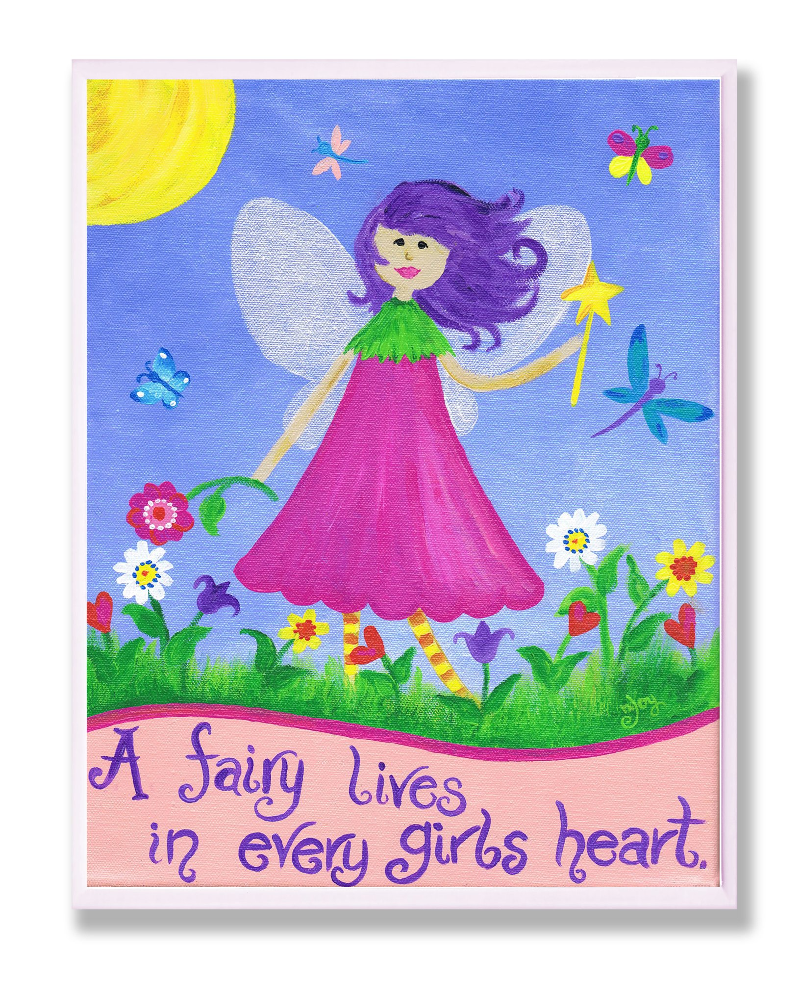 The Kids Room by Stupell A Fairy Lives In Every Girl's Heart Rectangle Wall Plaque, 11 x 0.5 x 15, Proudly Made in USA by The Kids Room by Stupell (Image #1)