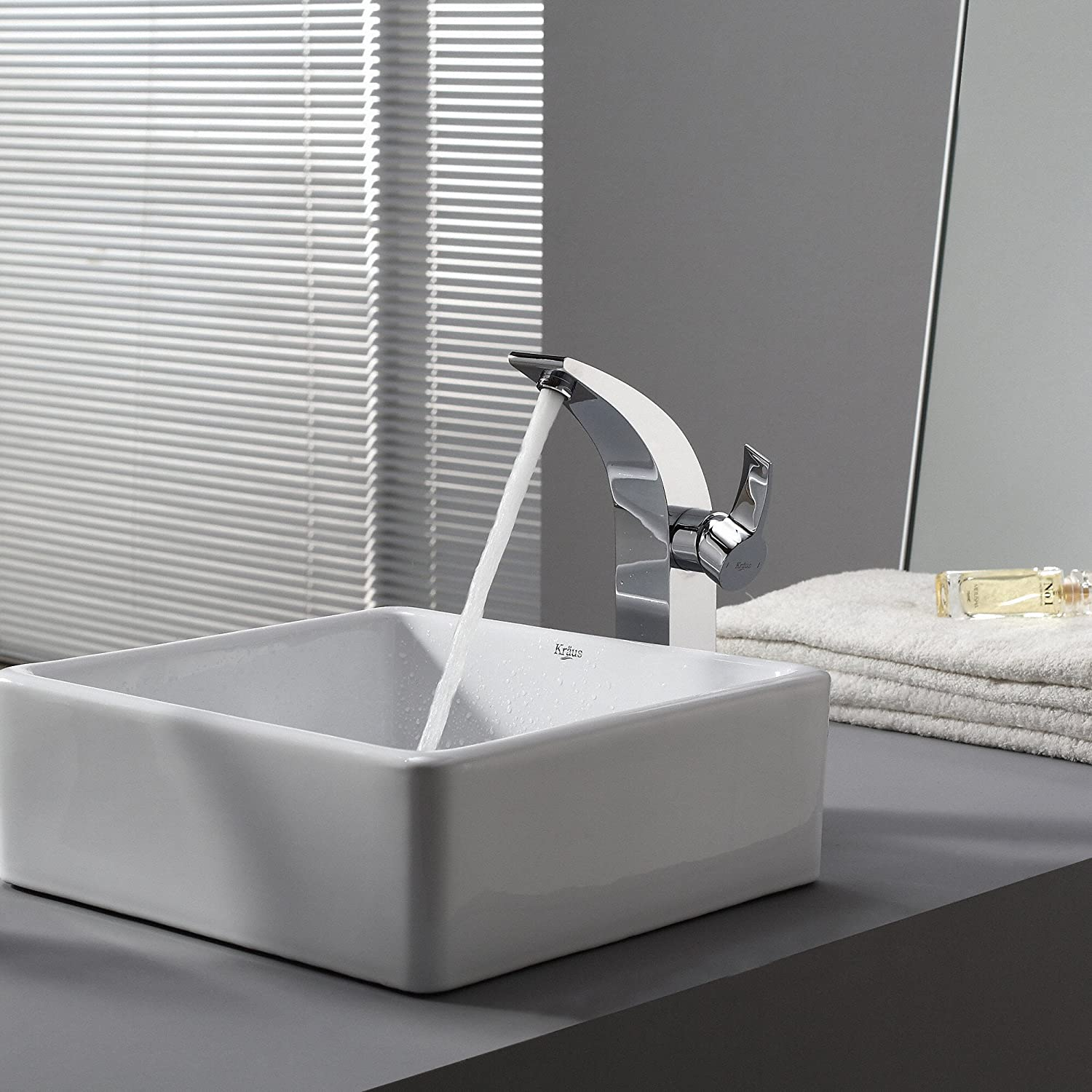 Bathroom available in 5 finishes vessel bathroom sinks msrp 425 - Kraus Kcv 120 White Square Ceramic Bathroom Sink Vessel Sinks Amazon Com