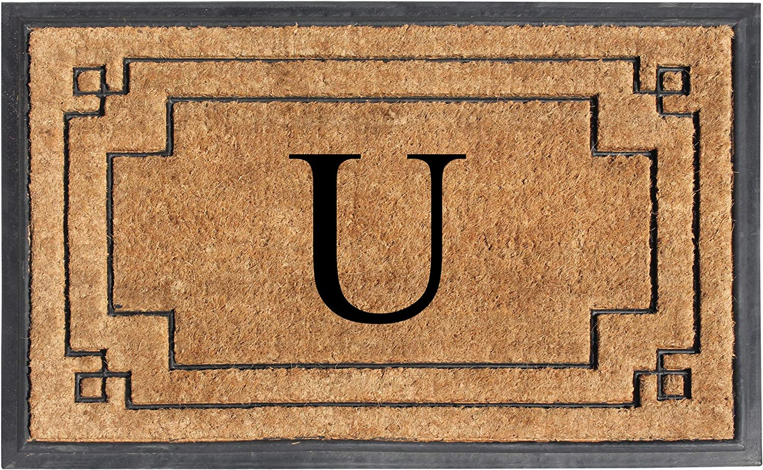 "A1 HOME COLLECTIONS A1HOME200128-U A1HC-Designer Hand-Crafted Rubber & Coir Frame Molded Double Door Mat, Perfect and More Functional Size 24""X36"" Monogrammed, U"