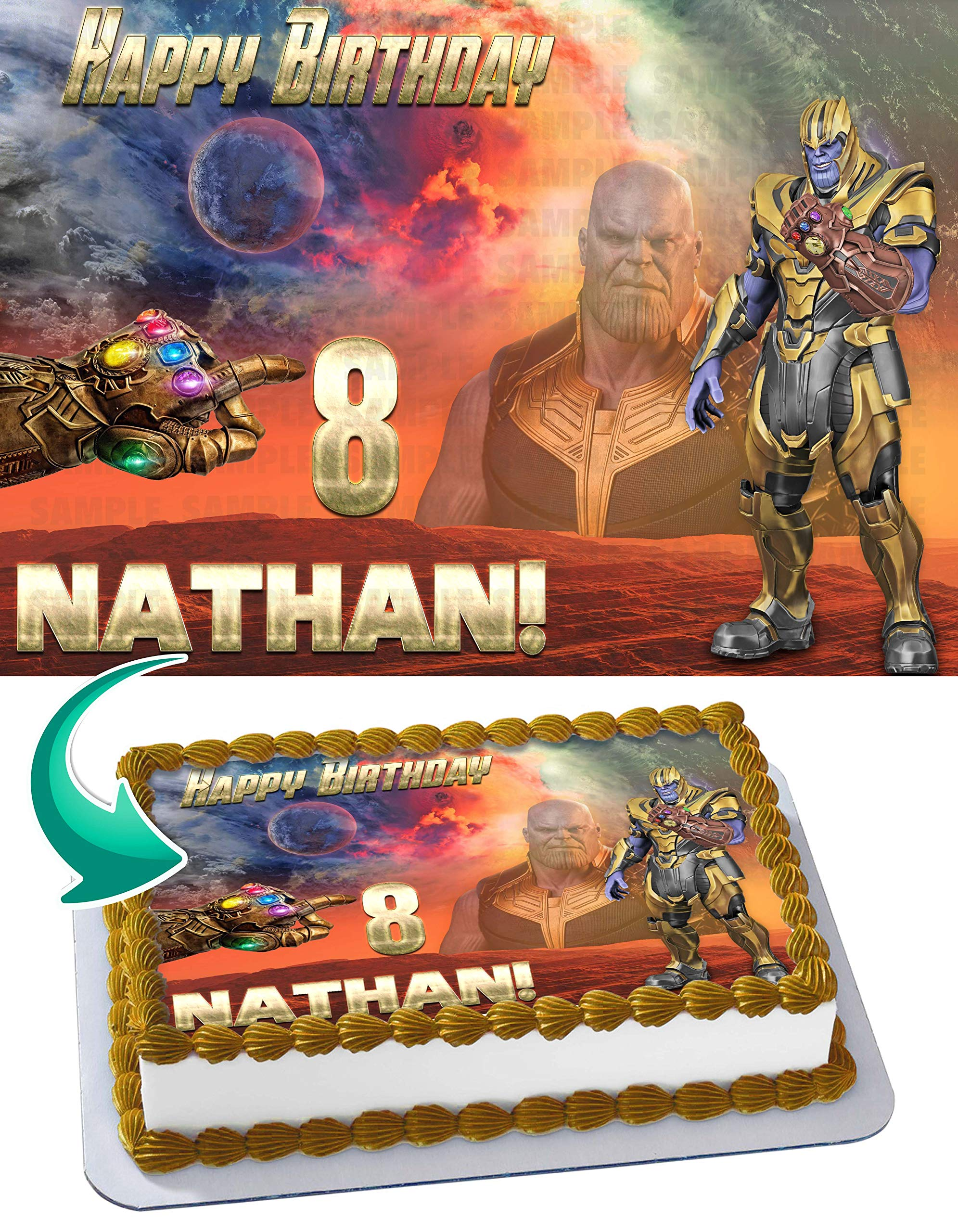 Thanos Avengers Infinity Edible Cake Image Topper Personalized Birthday 1/4 Sheet Custom Sheet Party Birthday Sugar Frosting Transfer Fondant Image ~ Best Quality Edible Image for Cake