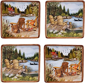 """Certified International Lake Life Canape Plates (Set of 4), 6"""", Multicolor"""