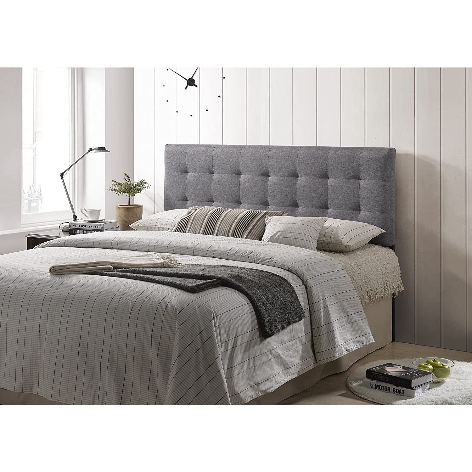 huge selection of 5c7af 95266 POLY & BARK EM-297-GRY Guilia Square-Stitched Headboard, Queen Size, Gray