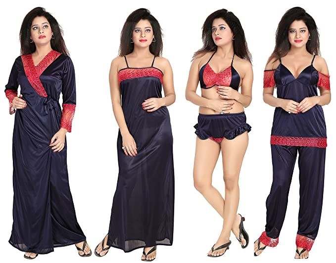 9123fb15118 Noty - Women s Satin Nighty - 6 Pc set- Nighty Robe Top Capri Bra ...