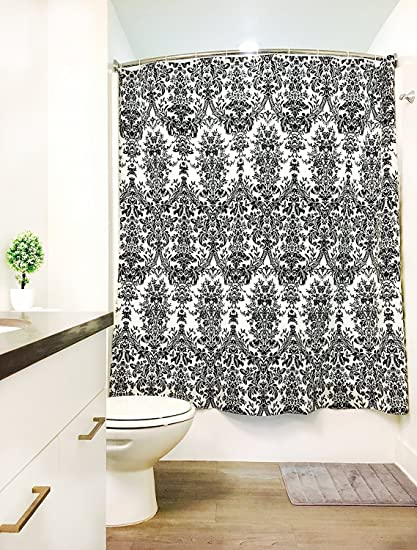 BATHKLIN Shower Curtain Set 72x72 Black And White Leaves Print
