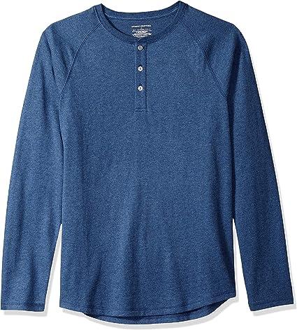 TALLA 54-57. Amazon Essentials - Camiseta ajustada Henley de manga larga para hombre