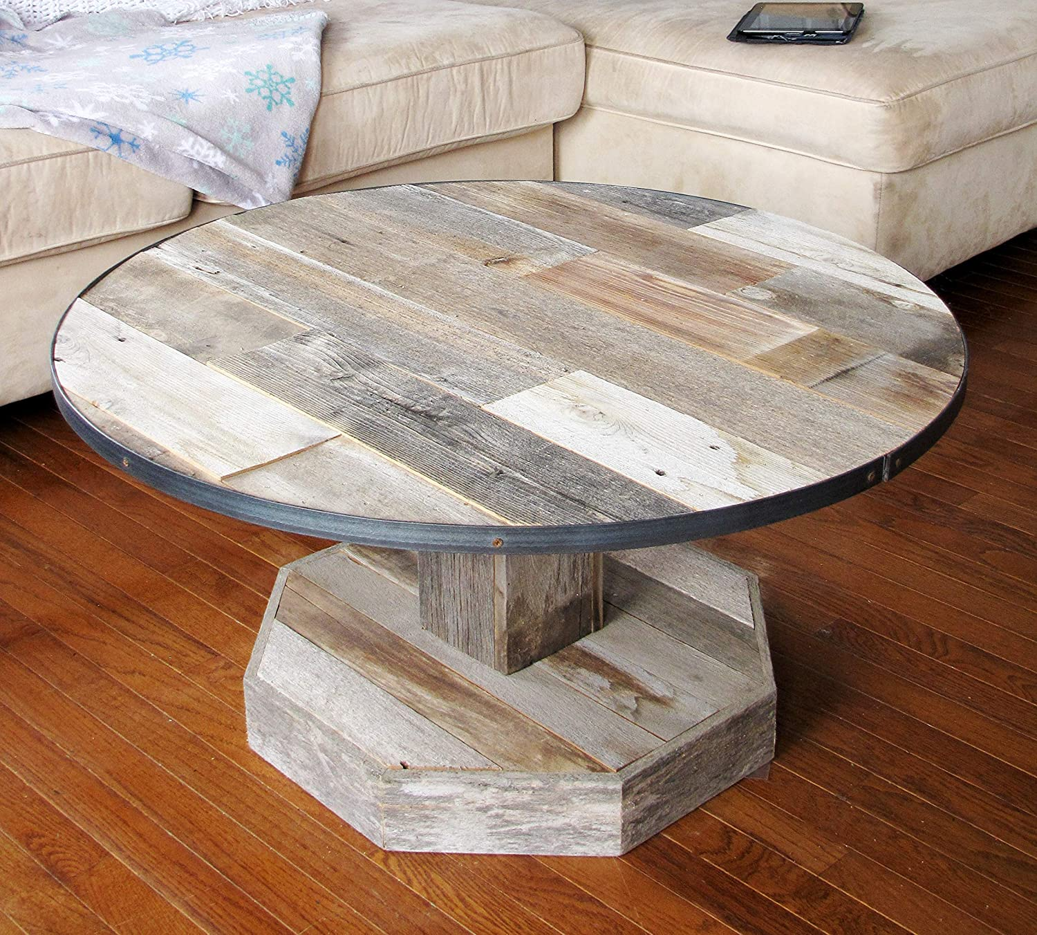 Round Rustic Reclaimed Wood Coffee Table