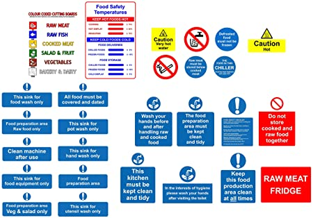 Kitchen safety signs starter pack - 27 Qty Various self adhesive ...