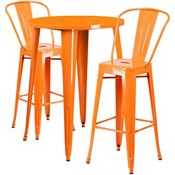flash furniture 30 round orange metal indoor outdoor bar table set