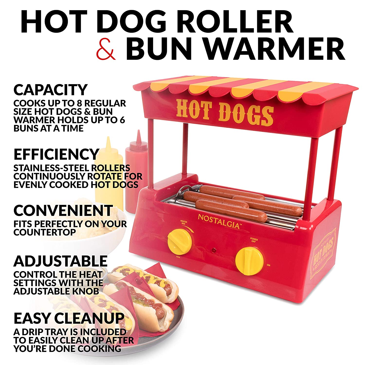 Nostalgia HDR8RY Hot Dog Warmer 8 Regular Sized, 4 Foot Long and 6 Bun Capacity, Stainless Steel Rollers, Perfect For Breakfast Sausages, Brats, Taquitos, Egg Rolls, Red Yellow