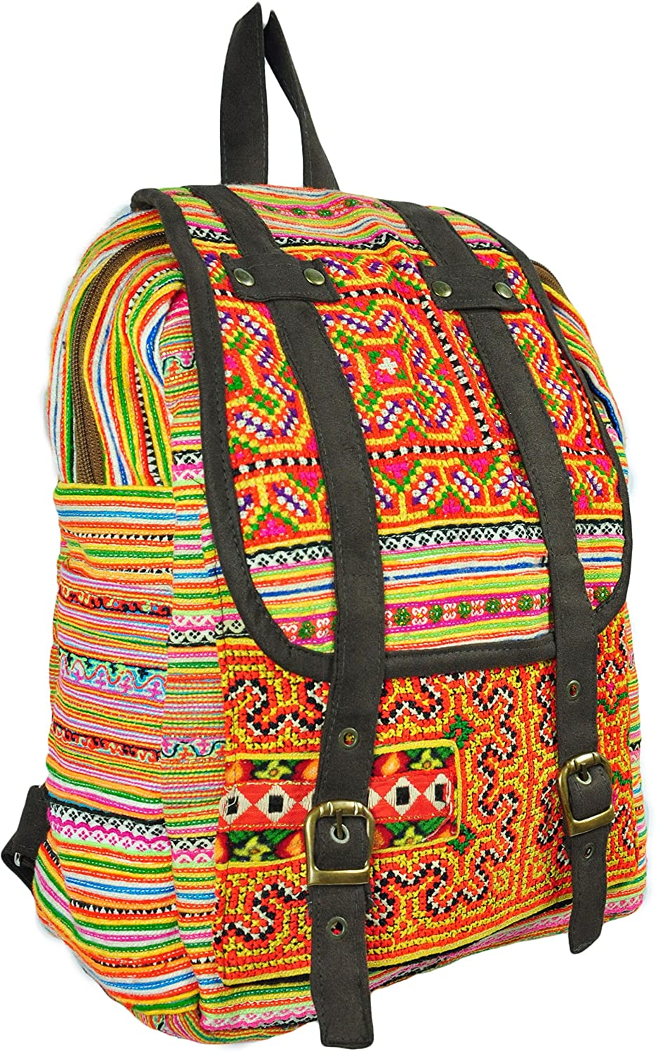 Hmong Handmade Woven Lace Backpack Satchel Knapsack with Adjustable Shoulder Straps Embroidery Asian Thai Style Hippie Cotton Fabric Lanna Pattern Bag From Chiangmai Thailand