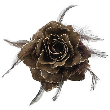 LARGE 12cm GLITTER EDGE ROSE /& FEATHER FLOWER HAIR ELASTIC FASCINATOR WEDDING