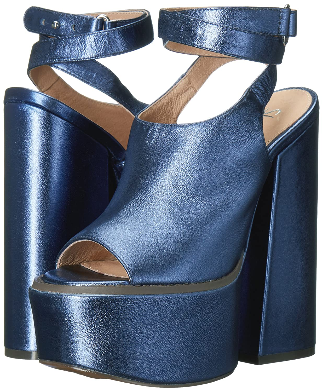 | Shellys London Chester Blue Leather Sling Back