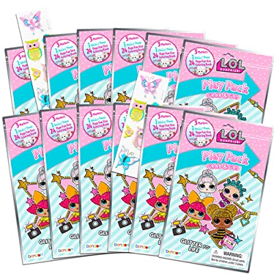 Dolls LOL Coloring Book Party Favor Packs ~ Bundle of 12 LOL Grab n Go Play Packs Filled with Stickers and Mini Coloring Books with Bonus Puffy Stickers (LOL Party Supplies): Toys & Games