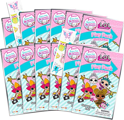 Amazon.com: Dolls LOL Coloring Book Party Favor Packs ~ Bundle Of 12 LOL  Grab N Go Play Packs Filled With Stickers And Mini Coloring Books With  Bonus Puffy Stickers (LOL Party Supplies):