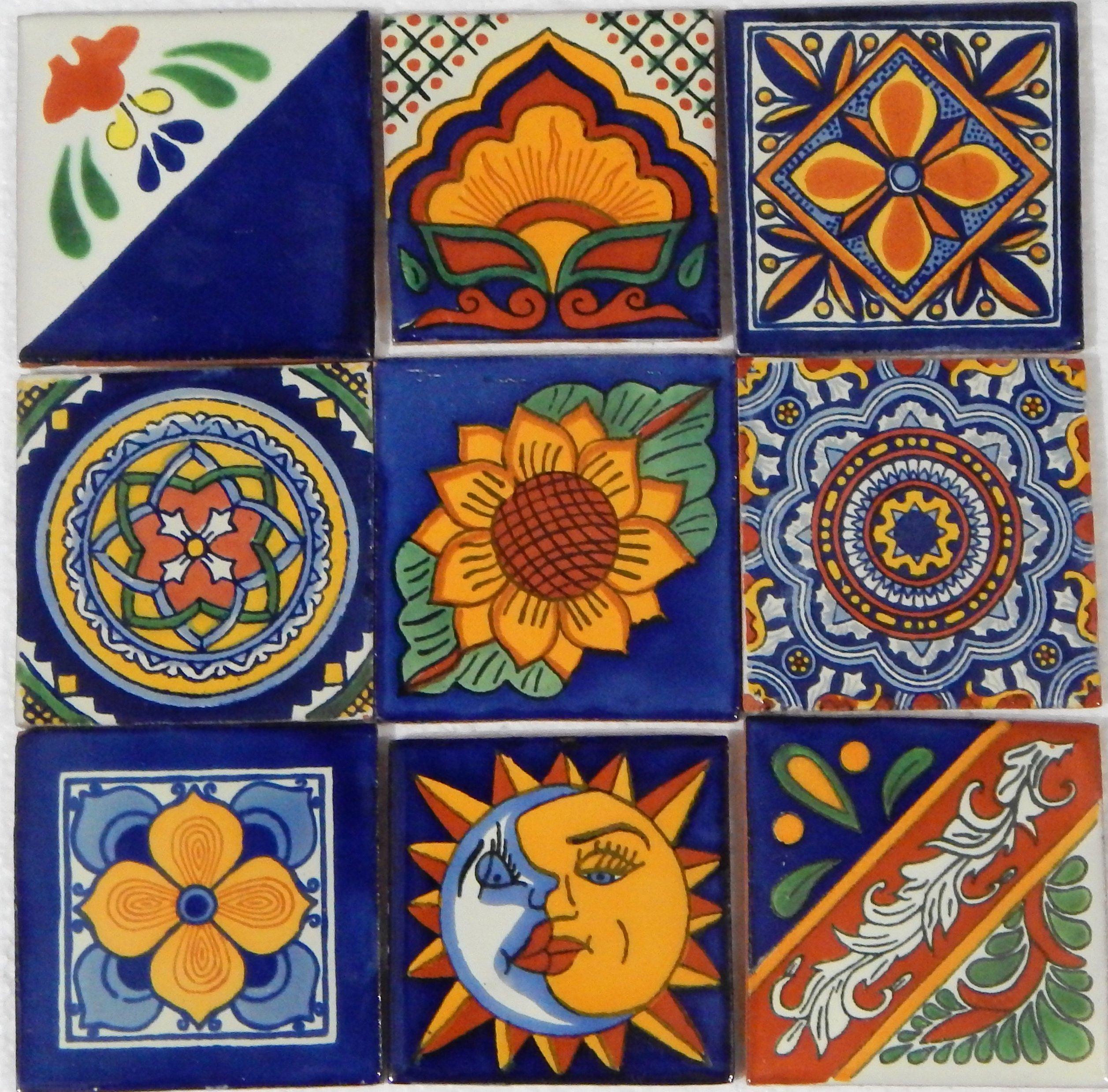 9 Hand Painted Talavera Mexican Tiles 4''x 4'' by Color y Tradicion