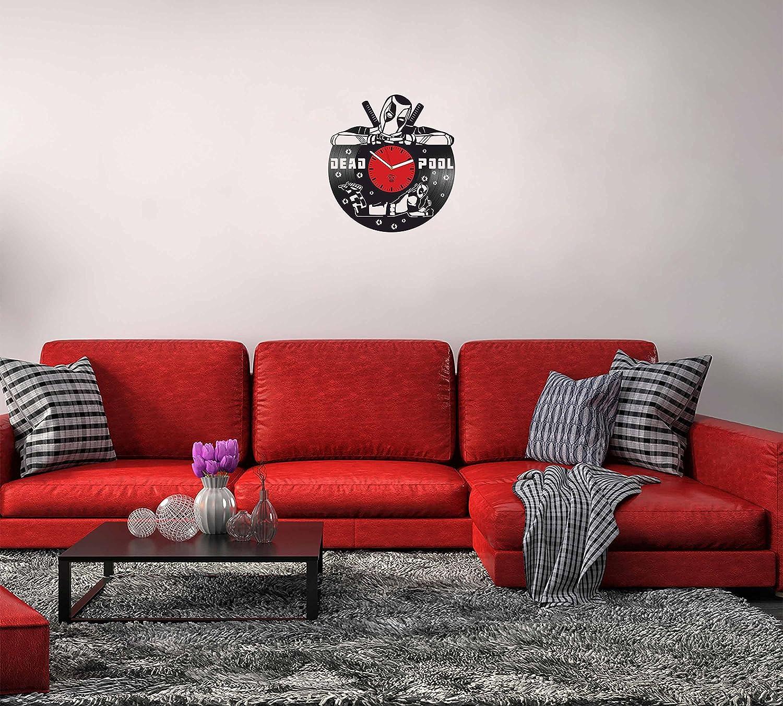 Deadpool Vinyl Clock, Wade Ryan Reynolds, Film Vinyl Record Clock, Best Gift For Him, Kovides Vinyl Wall Clock, Home Decor, Comics Marvel DC Movie, Silent Mechanism, Wall Art Decor