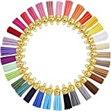 35 Mixed Color Suede Tassel for Keychain Cellphone Straps Jewelry Charms,70 pcs Leather Tassels DIY Accessories
