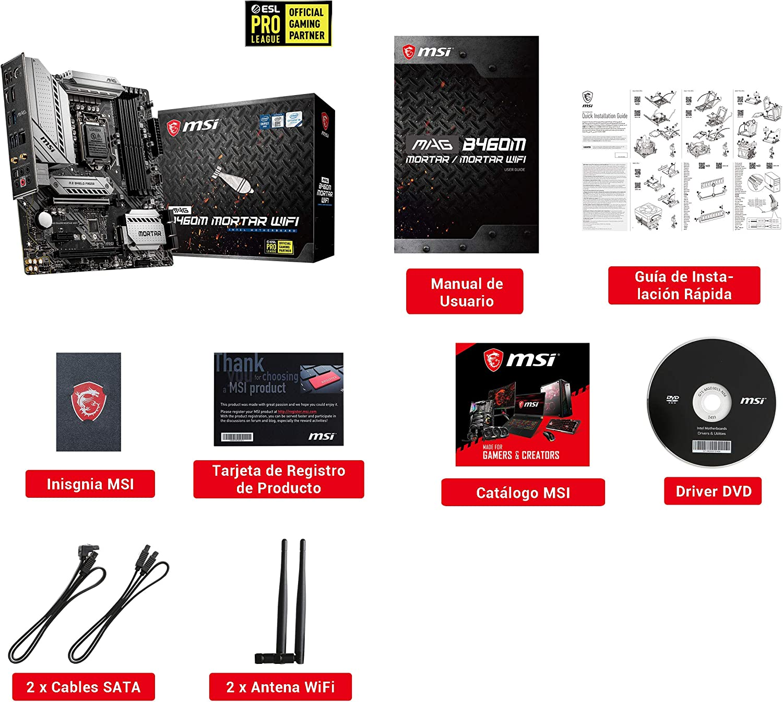 MSI - MAG B460M Mortar Wifi - Placa Base Arsenal Gaming (10th Gen Intel Core, LGA 1200 Socket, SLI/CF, Doble Ranura M.2, 2.5G LAN, Wi-Fi 6, DP/HDMI)