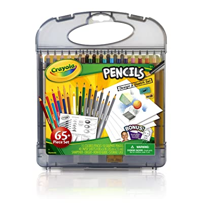 Crayola Colored Pencils Design & Sketch Set, Gift for Kids, 65 Pieces: Toys & Games