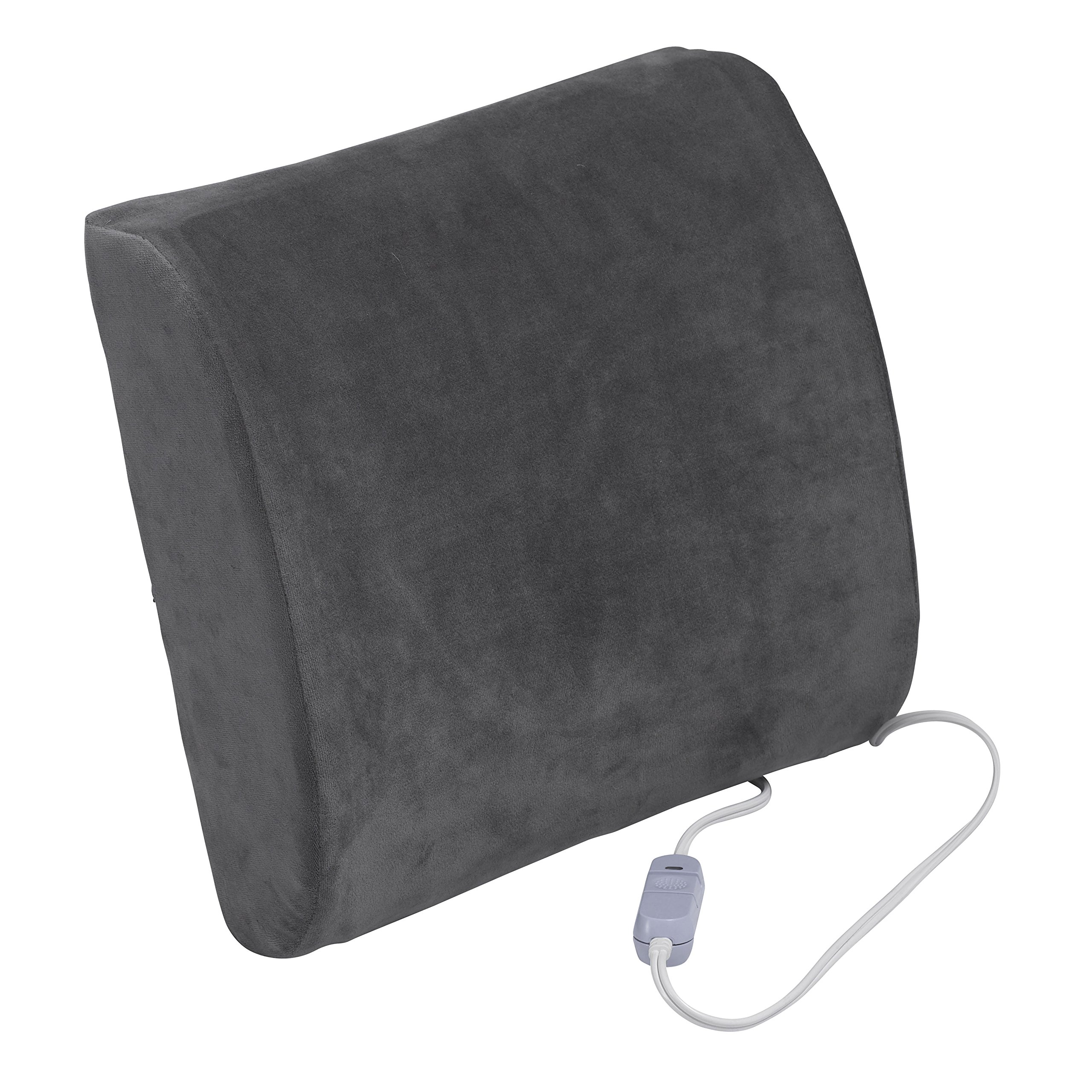 Drive Medical Comfort Touch Heated Lumbar Support Cushion, Gray