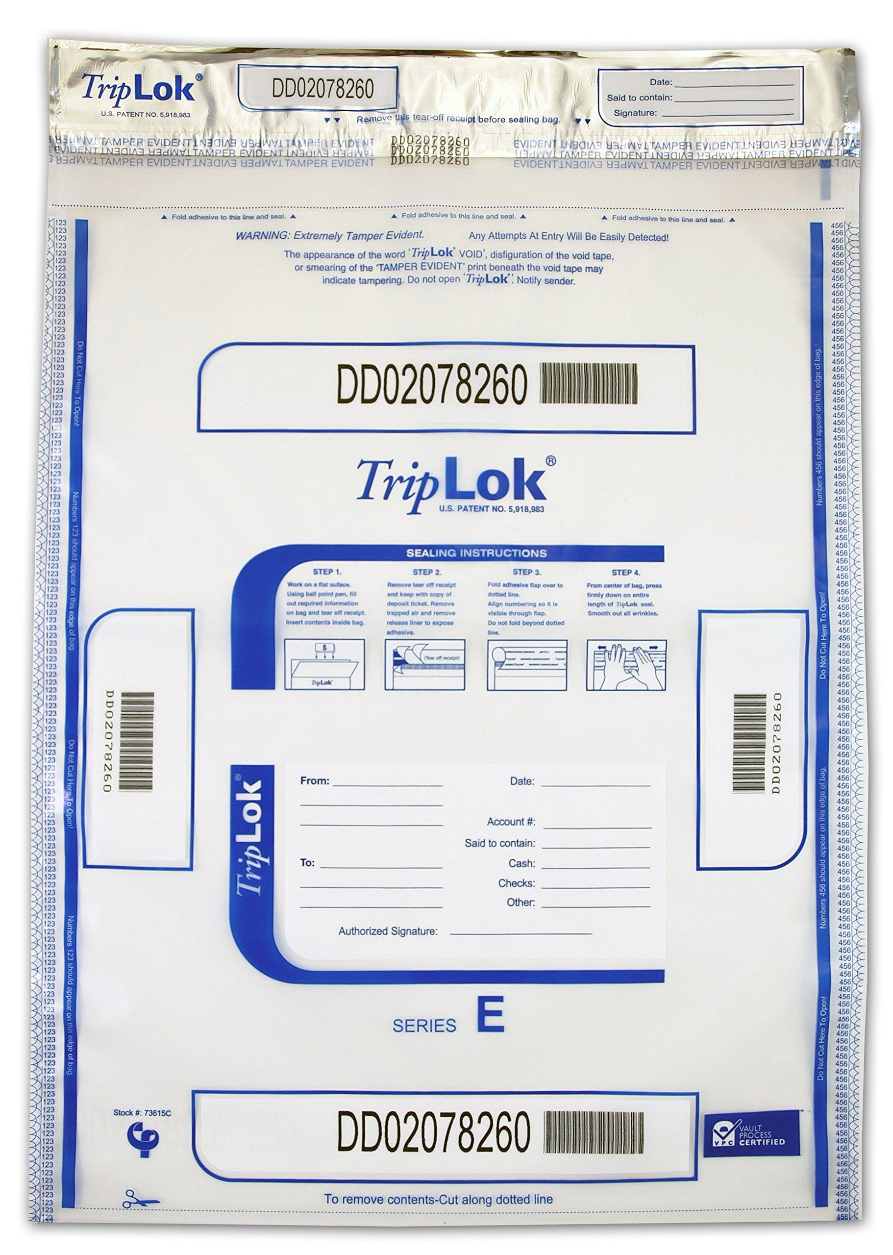 15 X 20 TripLok, clear, 50 Deposit Bags by CONTROLTEK