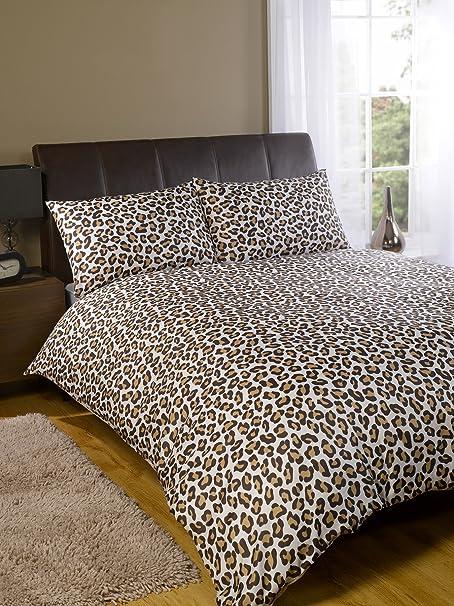 Leopard Print Duvet Cover Set Brown (Size Double)