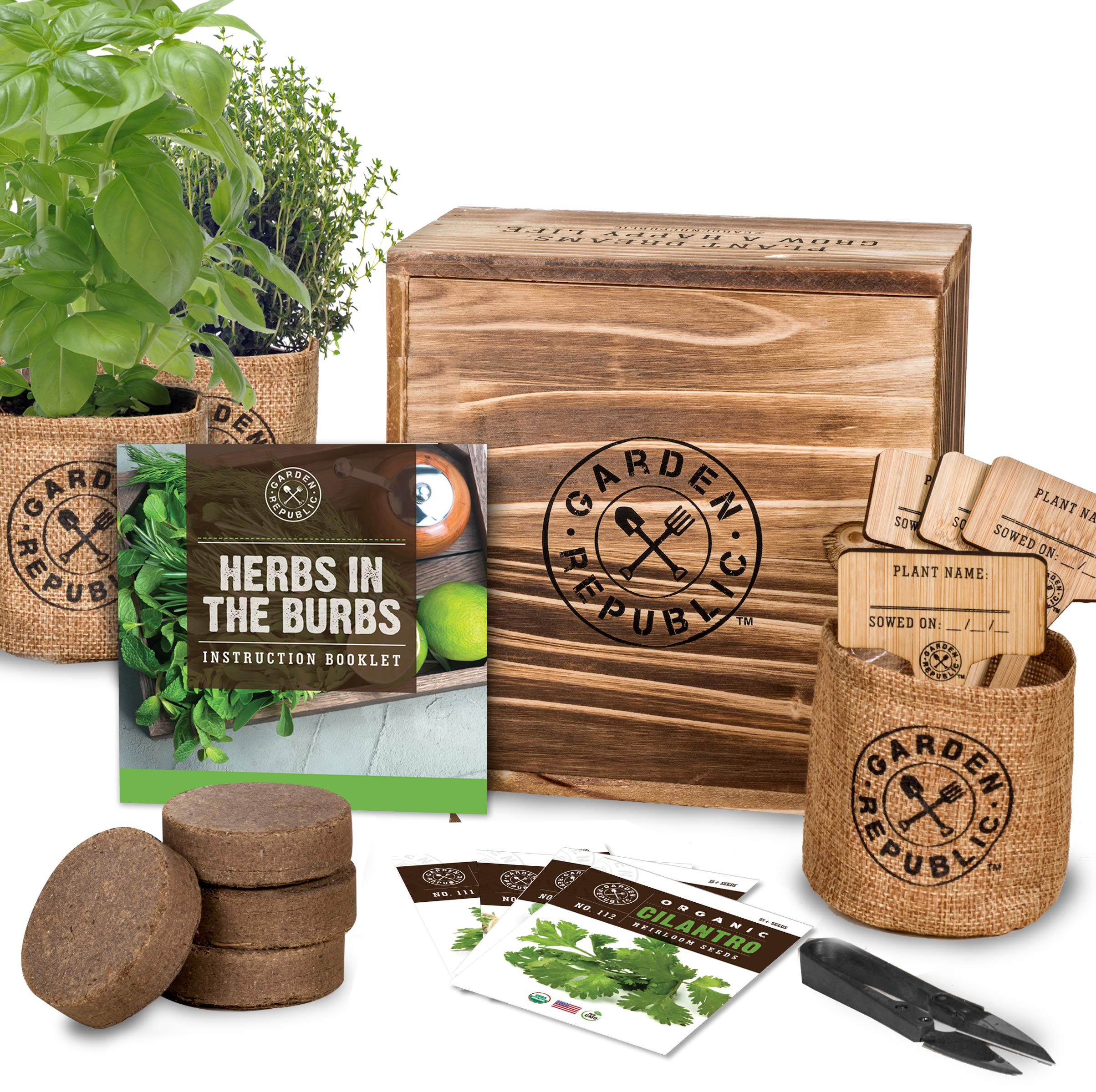 Indoor Herb Garden Starter Kit - Organic, Non GMO Herb Seeds - Basil Thyme Parsley Cilantro Seed, Potting Soil, Pots, Scissors - DIY Grow Kits for Growing Herbs Indoors, Kitchen, Balcony, Window Sill by · GARDEN REPUBLIC ·