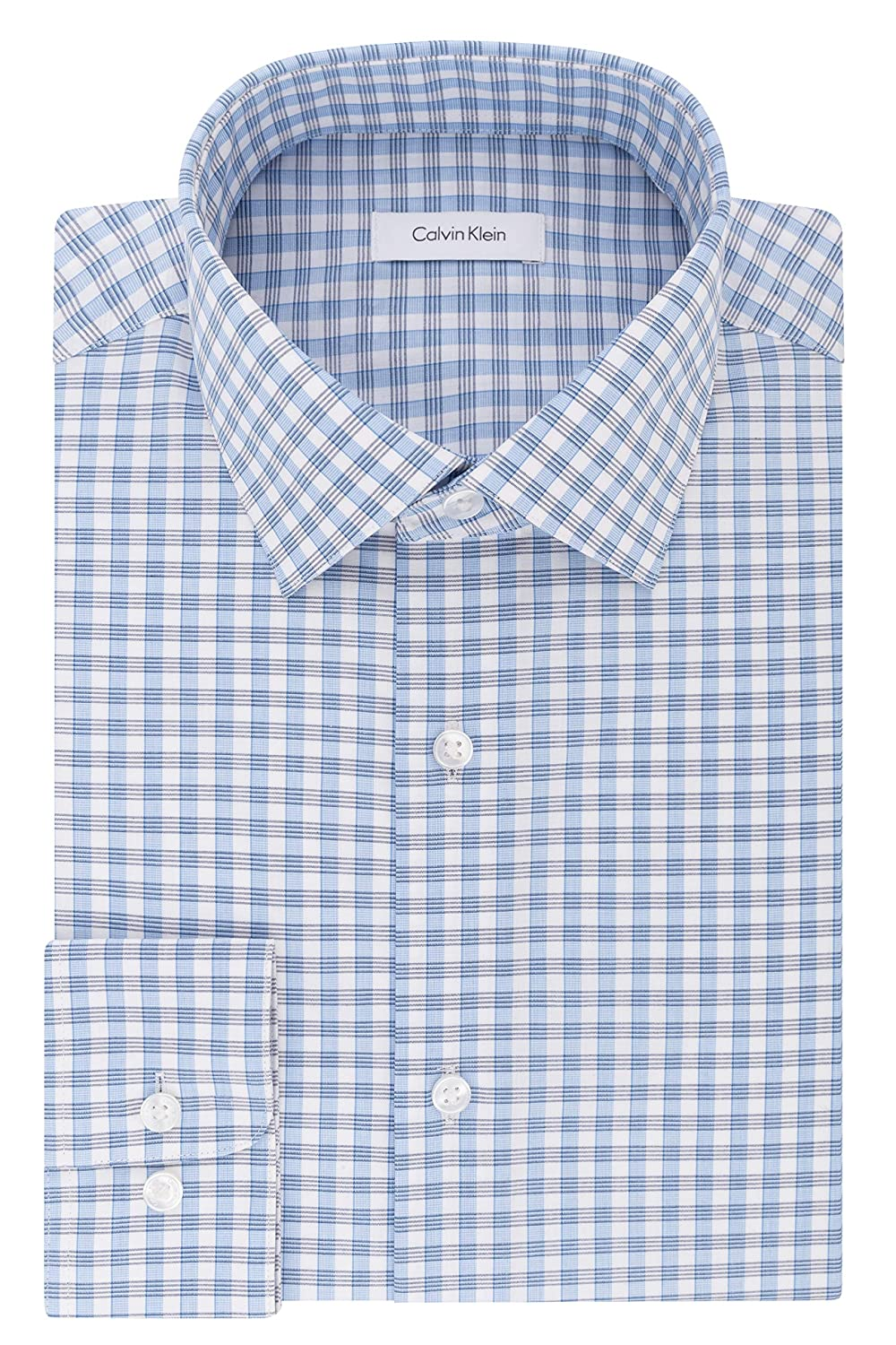 Symbol Of The Brand Slim Fit Blue Plaid Herringbone Spread Collar Wrinkle Freee Cotton Dress Shirt Clothing, Shoes, Accessories