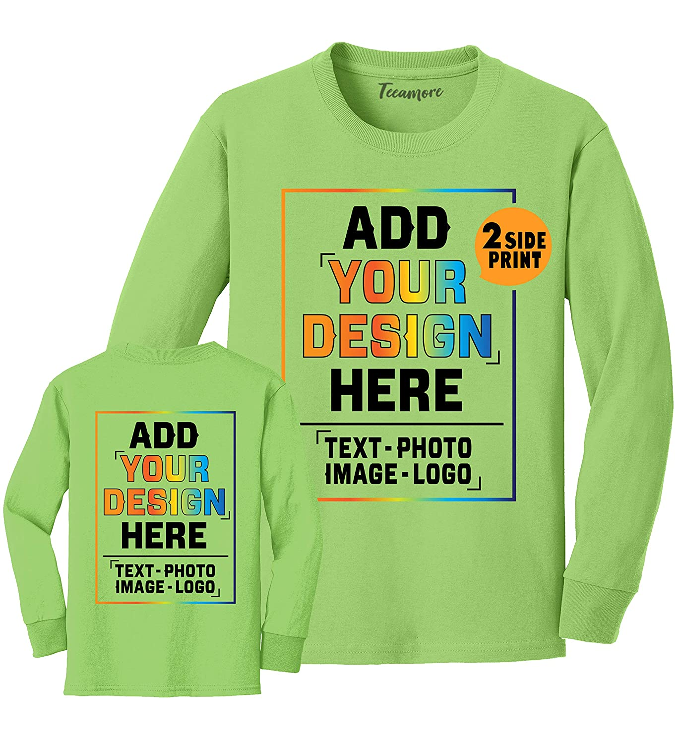 Custom Youth Long Sleeve Shirt Add Your Own Image Photo Text Front Back Side