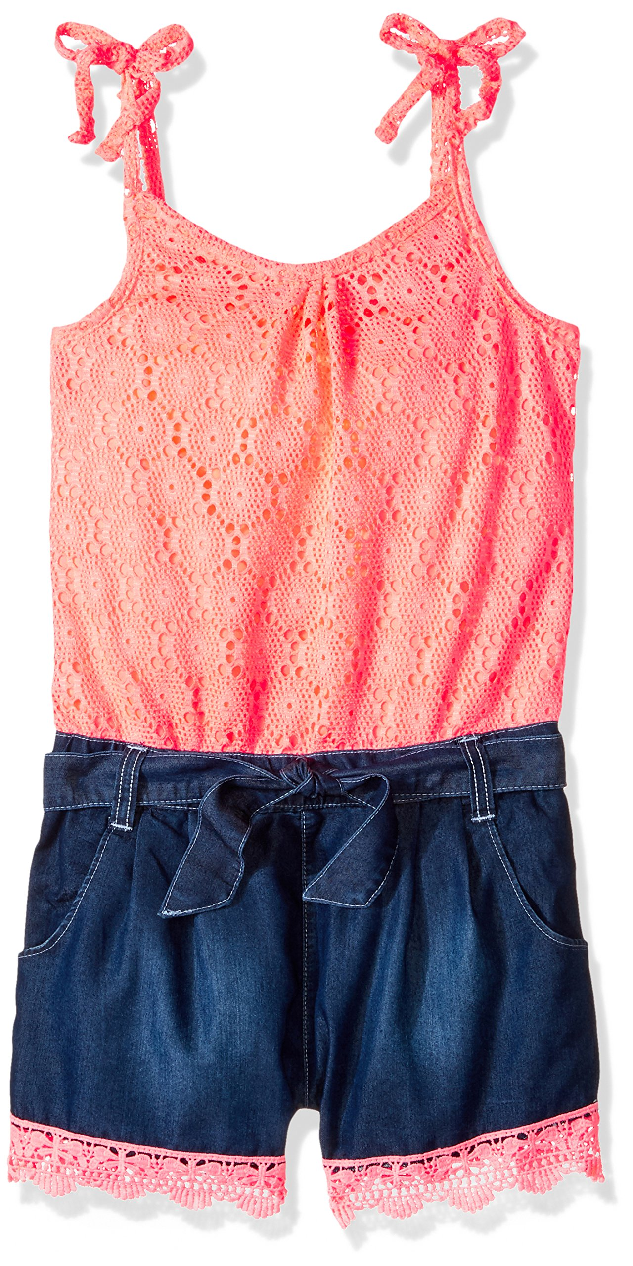 Limited Too Girls' Fashion Short Romper, 3077-Neon Light Coral, 8