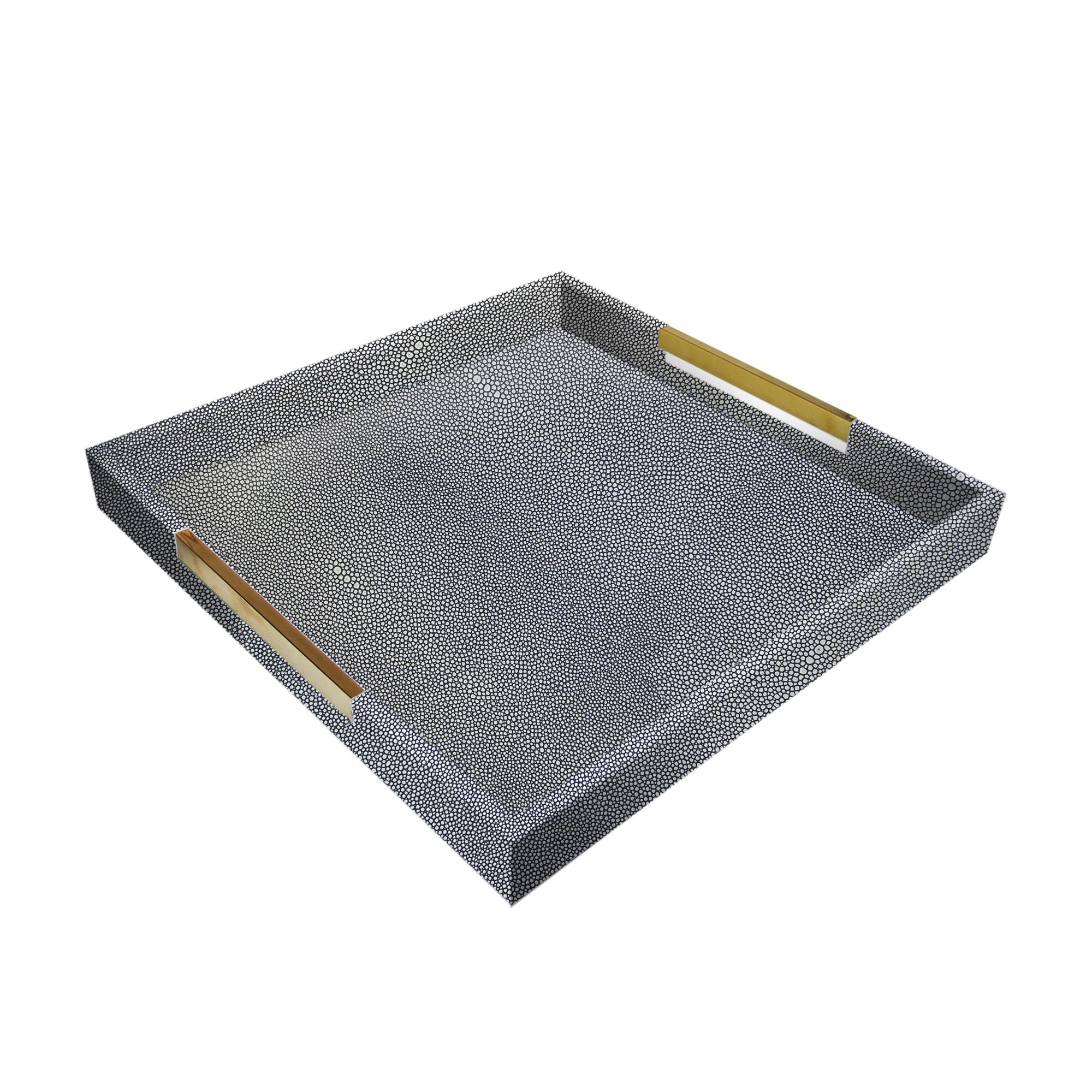 American Atelier 1630000 White & Gray Square Tray with Gold Handles