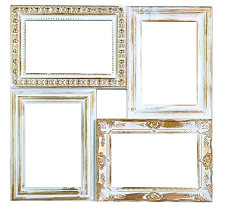 White and Gold Distressed Ornate Square Multi Photo Frame For 4 ...