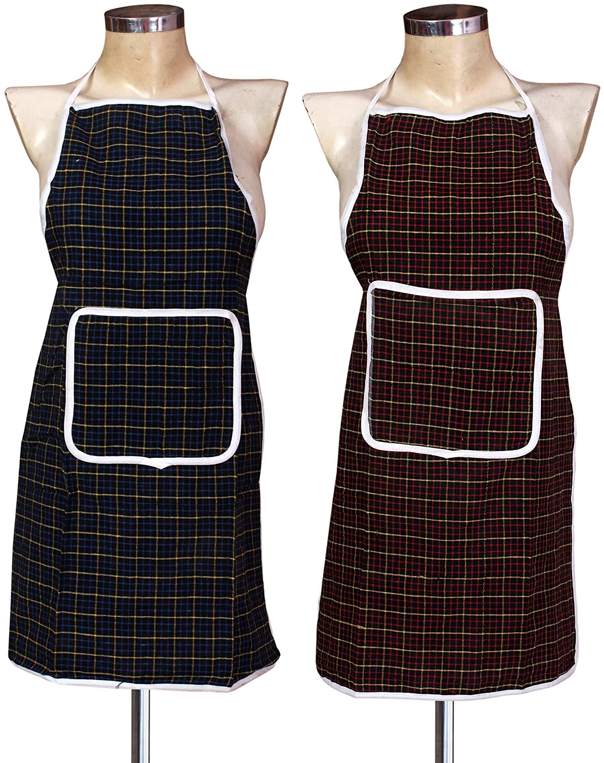 Yellow Weaves™ Check Design Waterproof Cotton Kitchen Aprons - Pack Of 2