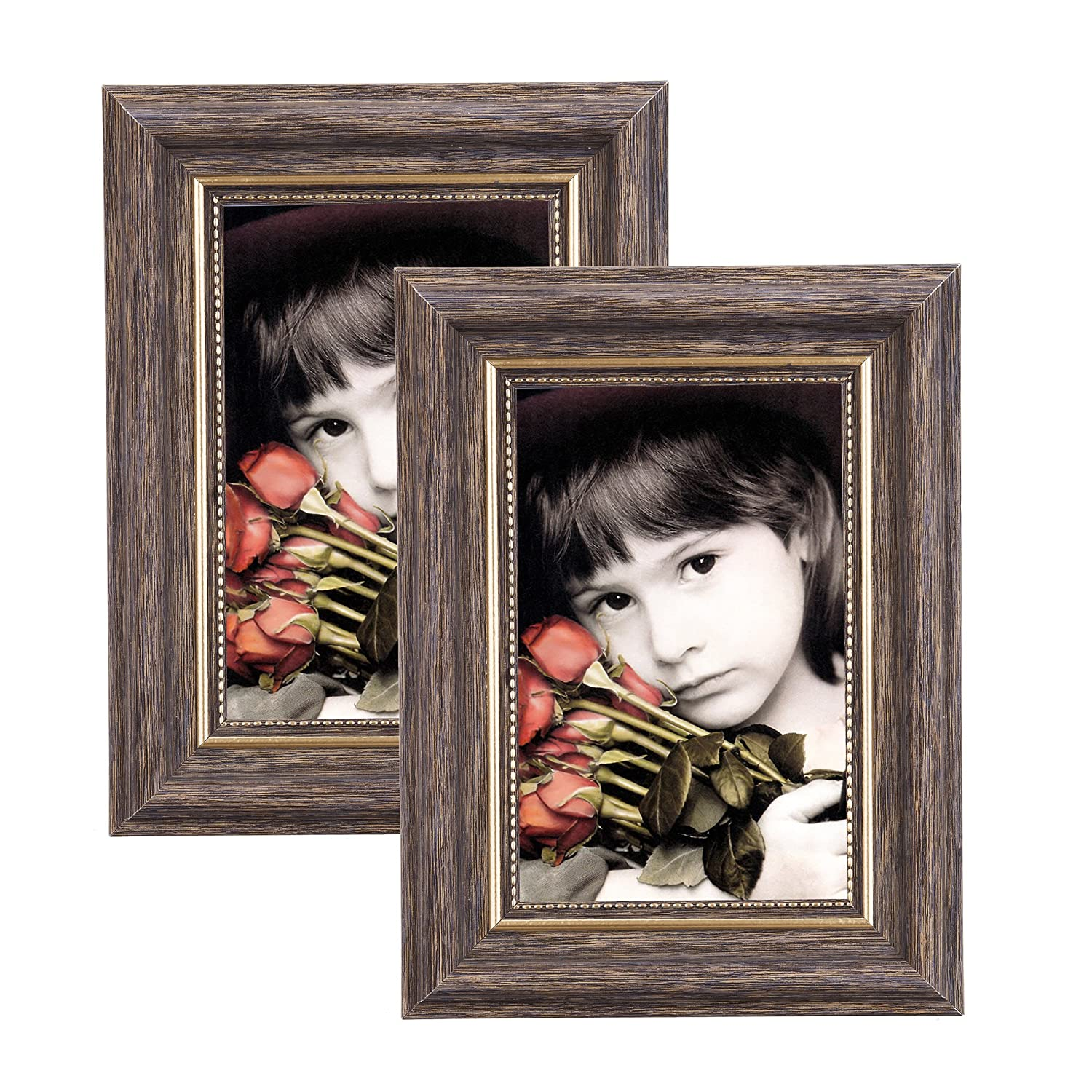 Msicyness Photo Frame 8x10 Vintage Portrait Picture Frames Retro Landscape & Horizontal Poster Frame Standing or Wall Mountable, Birthday Gift for Parents Woman Wedding Anniversary 10x8 Inch Brown